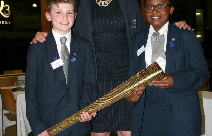 Head boy and girl with Debbie Flood