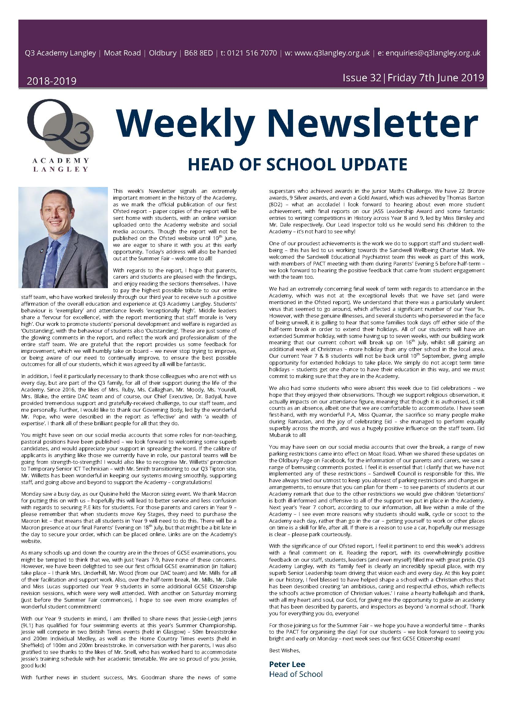 Newsletter - Issue 32_Page_1 | Q3 Academy Langley